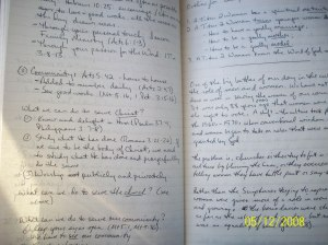 Notes in my moleskine for a recent Deacon\'s Meeting